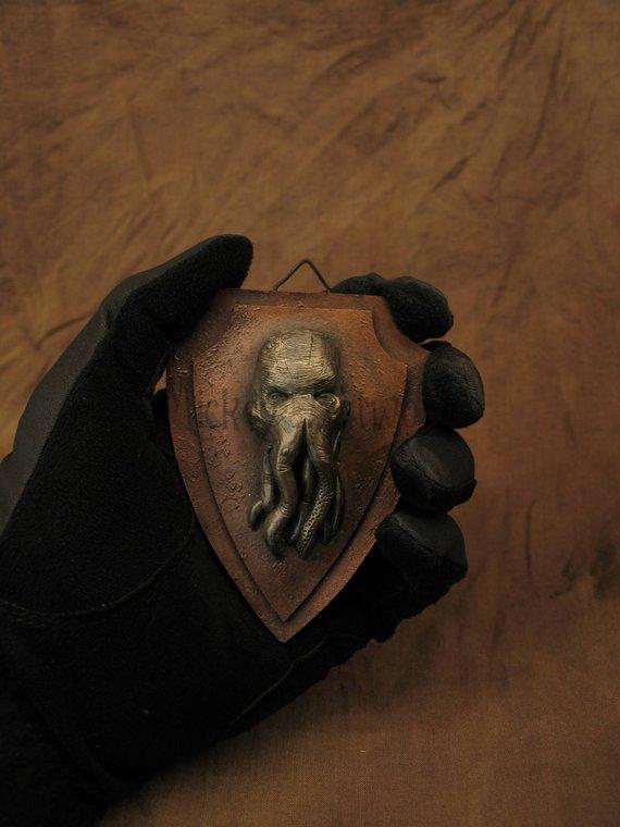Mini trophée ou cadre d'octopus ou poulpe en version steampunk par Mickey Artworld